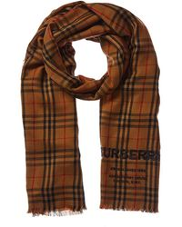 Burberry Embroidered Vintage Check Lightweight Cashmere Scarf - Multicolor