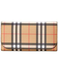 Burberry - Vintage Check & Leather Continental Wallet - Lyst