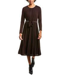 Marella Zufolo Pleated Midi Dress - Brown