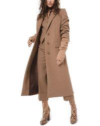 Michael Kors Melton Crushed Sleeve Wool Coat - Brown