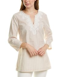 Brooks Brothers Striped Linen-blend Tunic Blouse - Natural