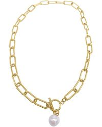 Adornia 14k Plated Pearl Paperclip Necklace - Metallic