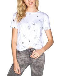 Chrldr Tiger Star Crop Knot T-shirt - White