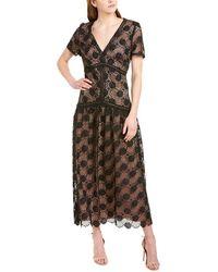 ML Monique Lhuillier Lace Midi Dress - Black