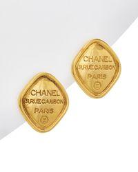 Chanel Gold-tone Diamond Shape Clip-on Earrings - Metallic