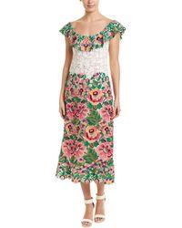 Valentino Lace Silk-blend Midi Dress - Green