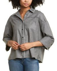 Piazza Sempione Piped Wool-blend Shirt - Grey