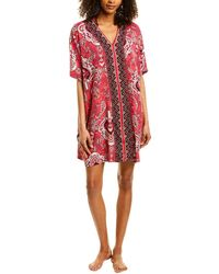Ellen Tracy Paisley Knit Short Caftan, Online Only - Red