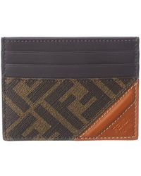 Fendi Ff Leather Card Holder - Brown