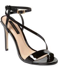 Ava & Aiden Patent Leather Ankle Strap Stiletto Sandals - Black