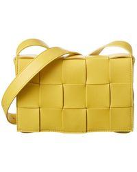 Bottega Veneta Cassette Maxi Intrecciato Leather Shoulder Bag - Yellow