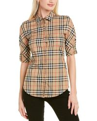 Burberry Luka Checked Stretch-cotton Shirt - Natural