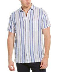 Karl Lagerfeld Stripe Linen-blend Woven Shirt - Blue