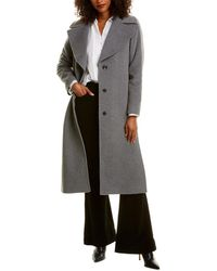 Cinzia Rocca Long Wool & Cashmere-blend Trench Coat - Gray