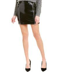 Michelle Mason Zipper Patent Mini Skirt - Black