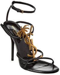 Saint Laurent Cassandra 100 Leather Sandal - Black