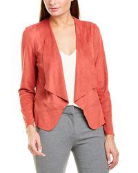 Anne Klein Drape Front Peplum Jacket - Red