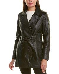 Badgley Mischka Double-breasted Leather Coat - Black