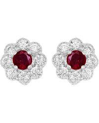 Diana M. Jewels . Fine Jewellery 14k 0.64 Ct. Tw. Diamond & Ruby Earrings - Multicolour