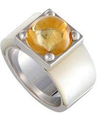 Van Cleef & Arpels Vintage Van Cleef & Arpels 18k Citrine & Mother-of-pearl Ring - Metallic