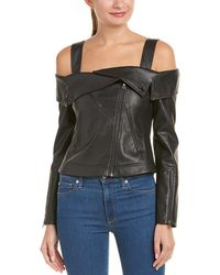 BCBGMAXAZRIA Clyde Off-the-shoulder Moto Jacket - Black