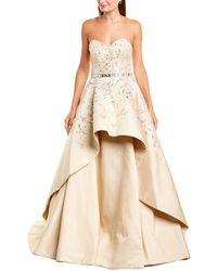 Carolina Herrera Strapless Embroidered Silk Gown - Natural