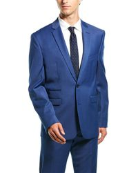Vince Camuto Solid Medium Blue Slim Fit 2-piece Suit