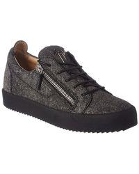 Giuseppe Zanotti Matte Glitter Leather Sneaker