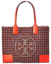 Tory Burch Ella Mini Plaid Tote - Orange