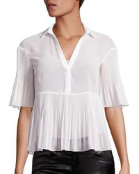 Giamba Georgette Plisse Short-sleeve Blouse - White