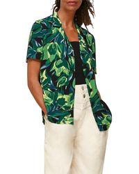 Whistles Tulip Print Short Sleeve Shirt - Green
