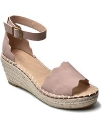 Catherine Malandrino Margo Scalloped Espadrille Platform Wedge Sandal - Multicolor