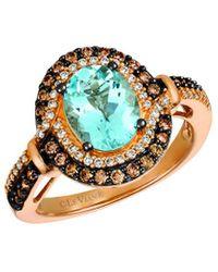 Le Vian 14k Rose Gold 1.94 Ct. Tw. Diamond & Aquamarine Ring - Metallic