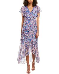 Shoshanna Elnora Floral Silk-blend Ruched Asymmetric High-low Dress - Pink
