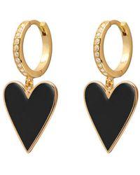 Gabi Rielle 14k Over Silver Cz & Enamel Heart Drop Earrings - Metallic