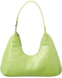 BY FAR Croc-embossed Leather Hobo Bag - Green