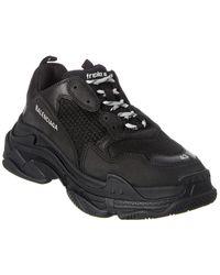 Balenciaga Triple S Leather-trim Sneaker - Black