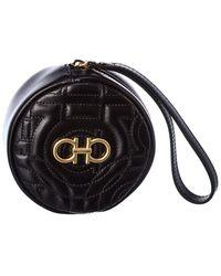 Ferragamo Gancini Leather Coin Purse - Black