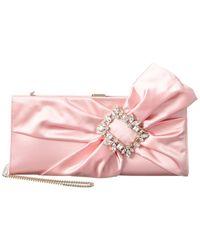 Roger Vivier Broche Vivier Silk Satin Drape Clutch - Pink