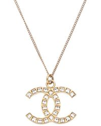 Chanel Gold-tone Crystal Cc Necklace - Metallic