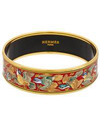 Hermès Gold-plated & Printed Enamel Wide Bangle - Metallic