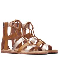 Sorel Bailee Lace-up Leather Sandal - Brown