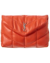 Saint Laurent Puffer Small Quilted Leather Pouch - Red