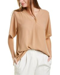 Eileen Fisher V-neck Silk Top - Brown