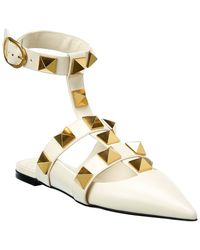 Valentino - Valentino Garavani Roman Stud Leather Ankle Strap Flat - Lyst