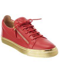Giuseppe Zanotti Leather Sneaker - Red
