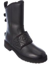 Fendi Ff Biker Leather Boot - Black