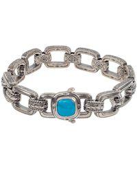 Konstantino Heonos Silver 4.12 Ct. Tw. Turquoise Link Bracelet - Metallic