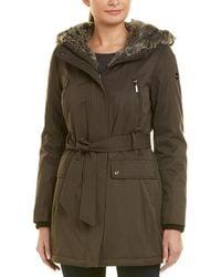 Kensie Soft Shell Bonded Wrap Jacket - Brown