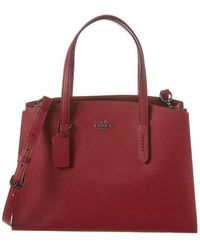 COACH Charlie Carryall Leather Tote - Red